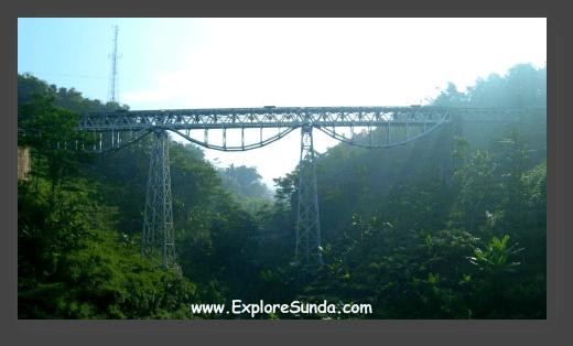 The railway viewed from Purbaleunyi toll road, near Bandung.
