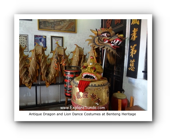 Antique dragon and lion dance costumes at Benteng Heritage Museum.