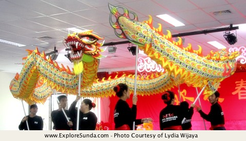 Dragon, based on Chinese myth, often performs during Imlek / Chinese New Year.