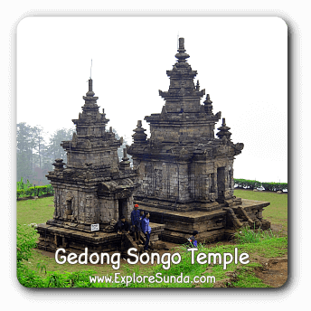 Candi Gedong Songo, a complex of Hindu temples on top of a mountain.