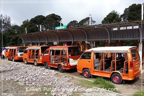Shuttle Cars at Kawah Putih in Ciwidey, Bandung