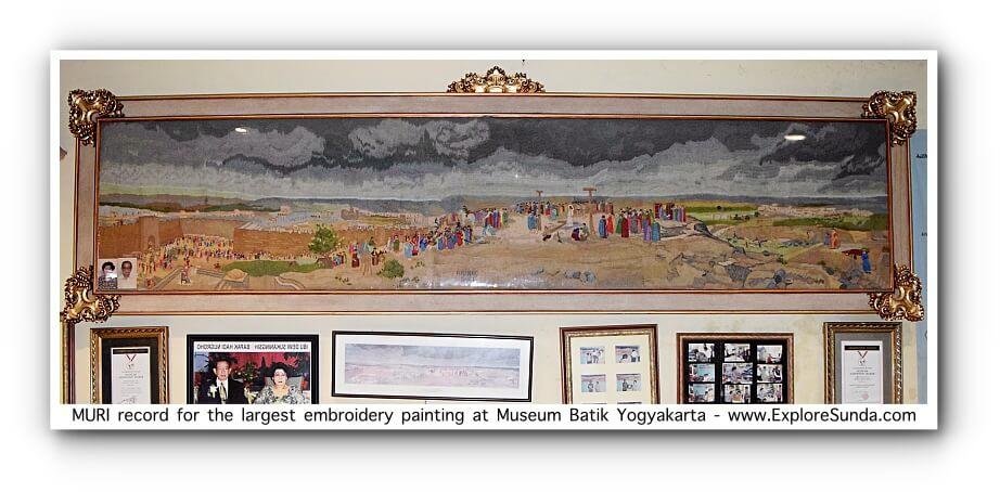 Embroidery painting recognized by MURI at Museum Batik Yogyakarta