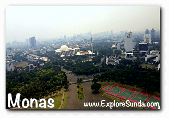 View from the observation deck of Monas, you can easily spot Istiqlal mosque by its dome.
