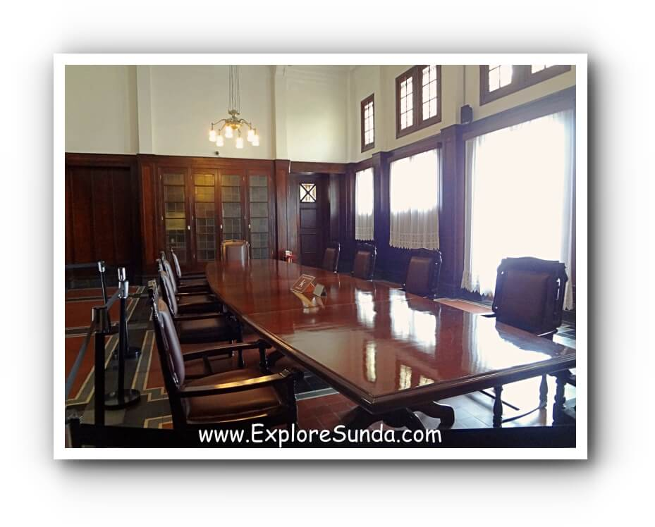 A former meeting room, fully furnished with classic furnitures made of solid teak wood in Museum Bank Indonesia.