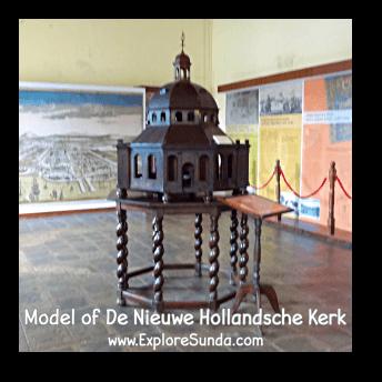 Model of De Nieuwe Hollandsche Kerk in Batavia.