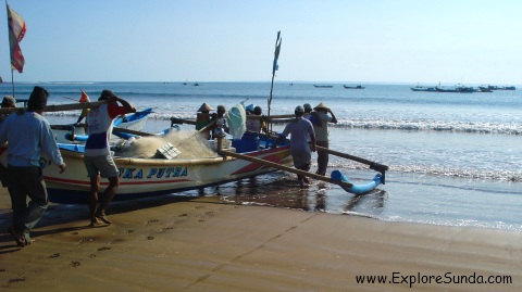 Fishermen at Pangandaran Beach - West Java