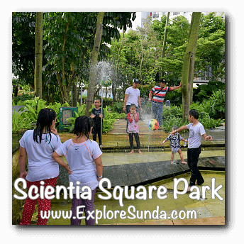 Playing with water at Scientia Square Park, Summarecon Serpong