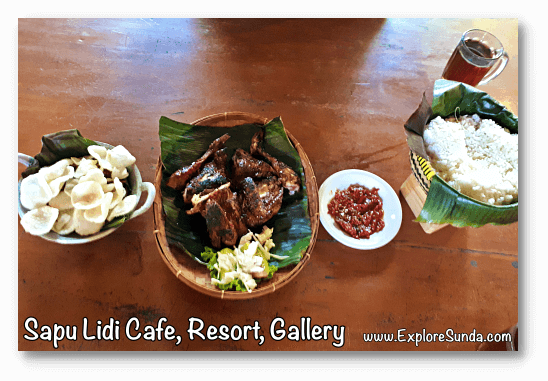 Delicious food at Sapu Lidi Cafe, Resort, and Gallery in Cihideung, Lembang Bandung.