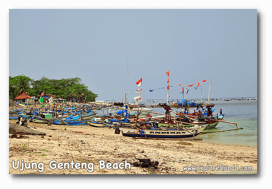 Fishermen boats at Ujung Genteng beach.