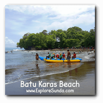Ride a banana boat and ready to be flipped in Batu Karas beach, Pangandaran :)
