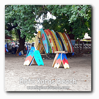 Boogie board, surf board, and inner tubes, available for rent in Batu Karas beach, Pangandaran.