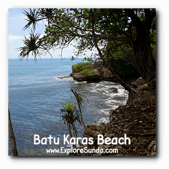 Waves hitting on the bottom of Batu Karas cliff, Pangandaran.