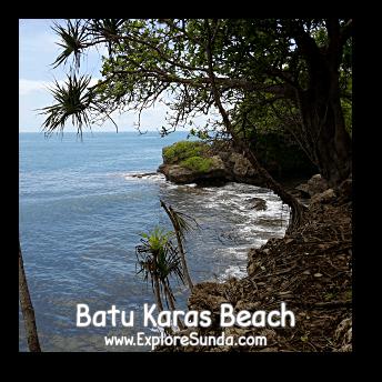 Waves hitting on the bottom of Batu Karas cliff, Pangandaran.