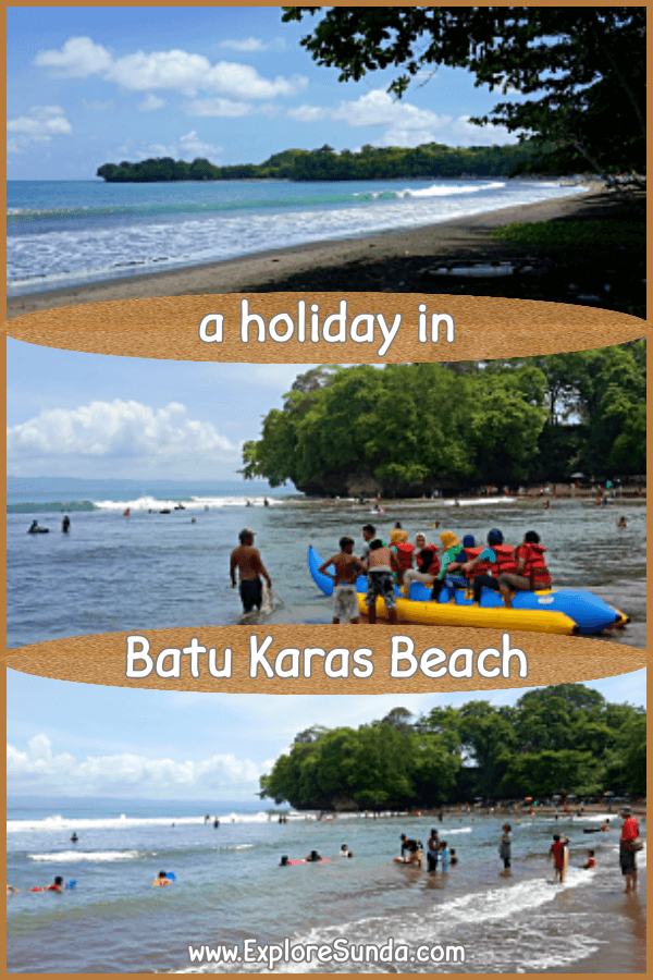 Fun Activities in Batu Karas beach Pangandaran: swimming, go surfing or body surfing, ride a Banana Boat, play volley, ... | #ExploreSunda #BatuKaras #Pangandaran