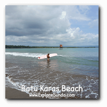 Batu Karas near Pangandaran is a to go place for surfing.