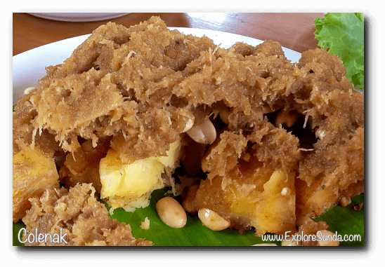 Colenak: fried fermented cassava with sugar on top