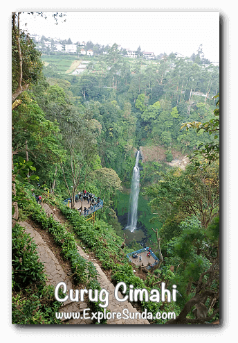 Curug Cimahi and the long stairs to reach the bottom of the waterfall.