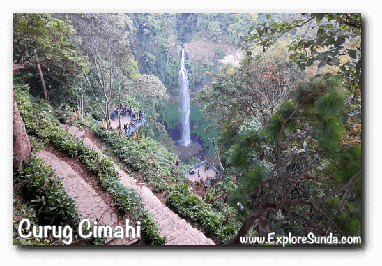The view of Curug Cimahi, the Rainbow Waterfall, from the top platform.