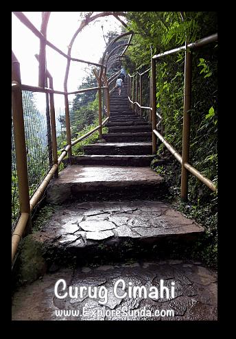Stairs at Curug Cimahi, the Rainbow Waterfall, at Cisarua Lembang.
