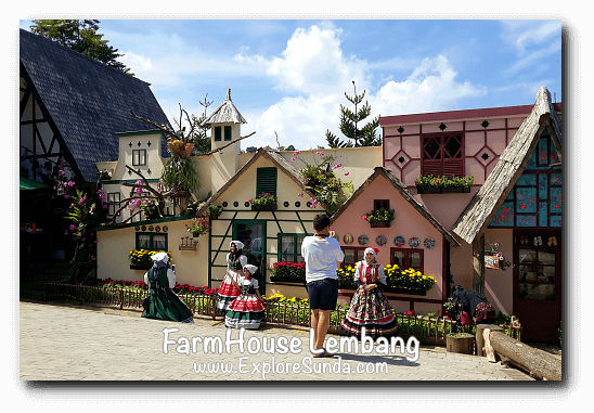 Taking pictures with European costumes and European backdrop in FarmHouse Lembang