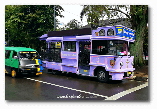 Two public transportations in Bandung: Angkot (Angkutan Kota) on the left and Bandros (Bandung Tour on Bus) on the right.