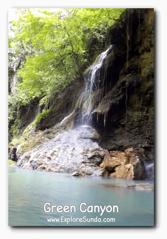 A small waterfall in Green Canyon, Pangandaran