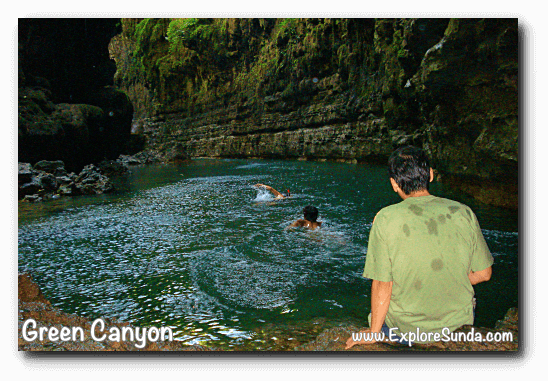 The pool at the end of Green Canyon, Pangandaran