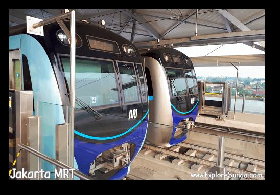 MRT trains at Lebak Bulus MRT Station - Jakarta.