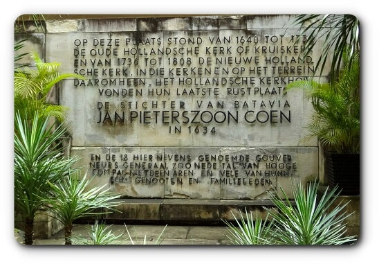 Tombstone of Governor General Jan Pieterszoon Coen in Museum Wayang