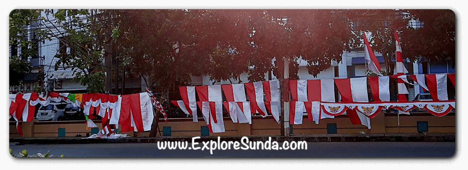 Red and white decoration for the celebration of Indonesia independence day