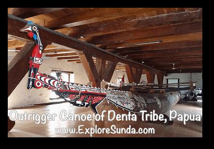 Perahu Cadik suku Denta, Papua (Outrigger Canoe of Denta Tribe from Papua) in Museum Bahari