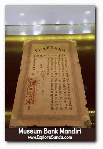 A Chinese written stock as one of the display in Museum Bank Mandiri at Kota Tua Jakarta.