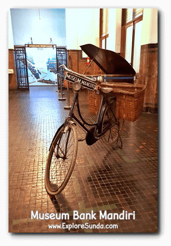 Bicycles were used to help bankers did their job in the early days, since vans were scarce. The display in Museum Bank Mandiri at Kota Tua Jakarta.
