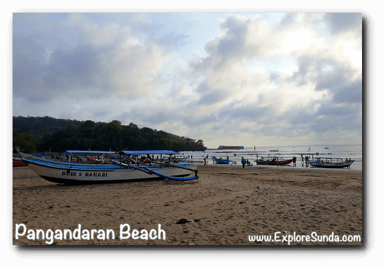 Boats available for hire to sail to Pasir Putih, Pangandaran
