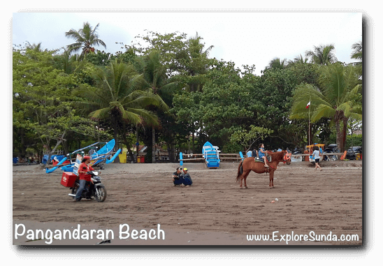 Have an ice cream on the beach? What a treat! Then ride a horse around Pangandaran beach :)