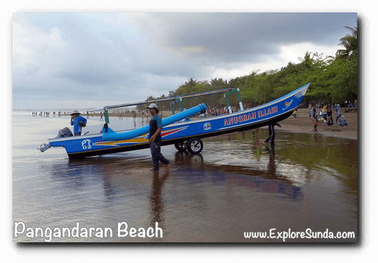 Fishermen in Pangandaran present time: they put 2 wheels under their boat so they can push it from the shoreline to the dry shore and vice versa. What a clever idea!