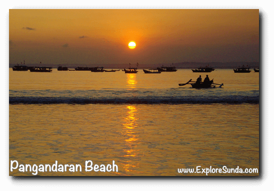 The lovely sunset to end your day on the west beach of Pangandaran.