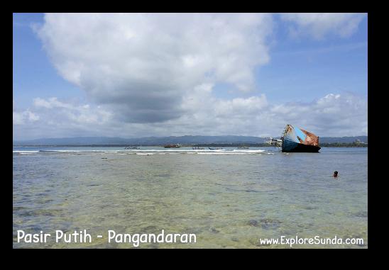The sunken ship in Pasir Putih, Pangandaran.
