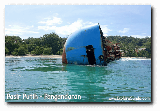 The sunken ship in Pasir Putih, Pangandaran.
