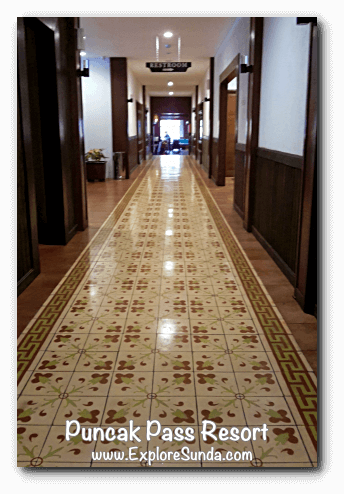 The classic tiles in the corridor of Puncak Pass Resort