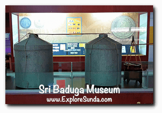 Traditional chips container and numismatic collection in Sri Baduga Museum, Bandung