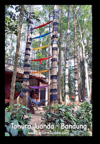Colorful hammocks tied high up on the trees in Taman Hutan Raya Ir. H. Djoeanda | TahuraJuanda - DagoPakar, Bandung.