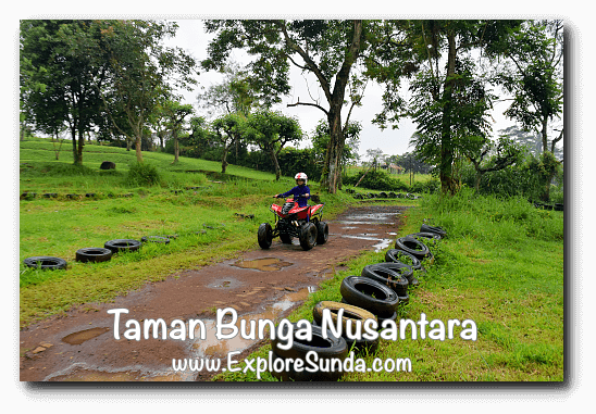 ATV ride at Taman Bunga Nusantara in Cipanas, Puncak