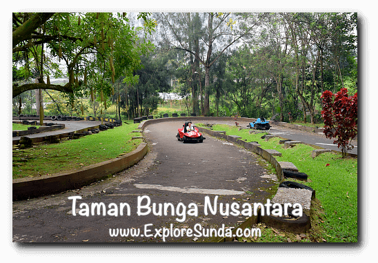 Go-cart ride at Taman Bunga Nusantara in Cipanas, Puncak