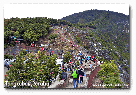 Walking path surrounding Kawah Ratu [Queen Crater] in mount Tangkuban Perahu, Lembang.