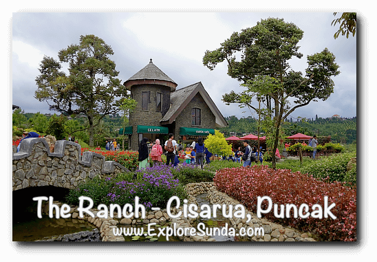 The beautiful view surrounding the gelato and coffee shop castle at The Ranch in Cisarua Puncak