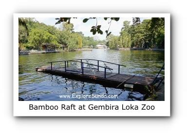 Crossing the Lake using Bamboo Raft at Gembira Loka Zoo
