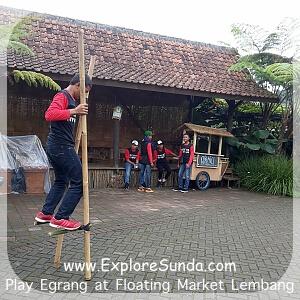 Play Egrang at Floating Market Lembang